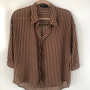 FOREVER 21 Brown sheer striped blouse